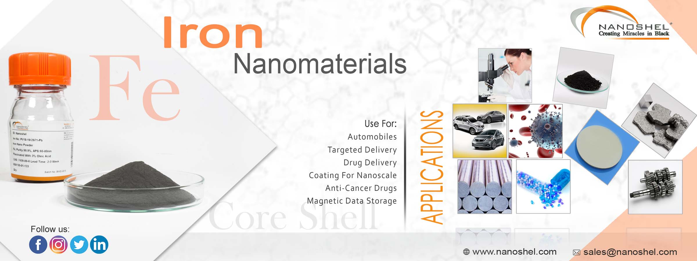 Passivated Iron core shell Nanoparticles