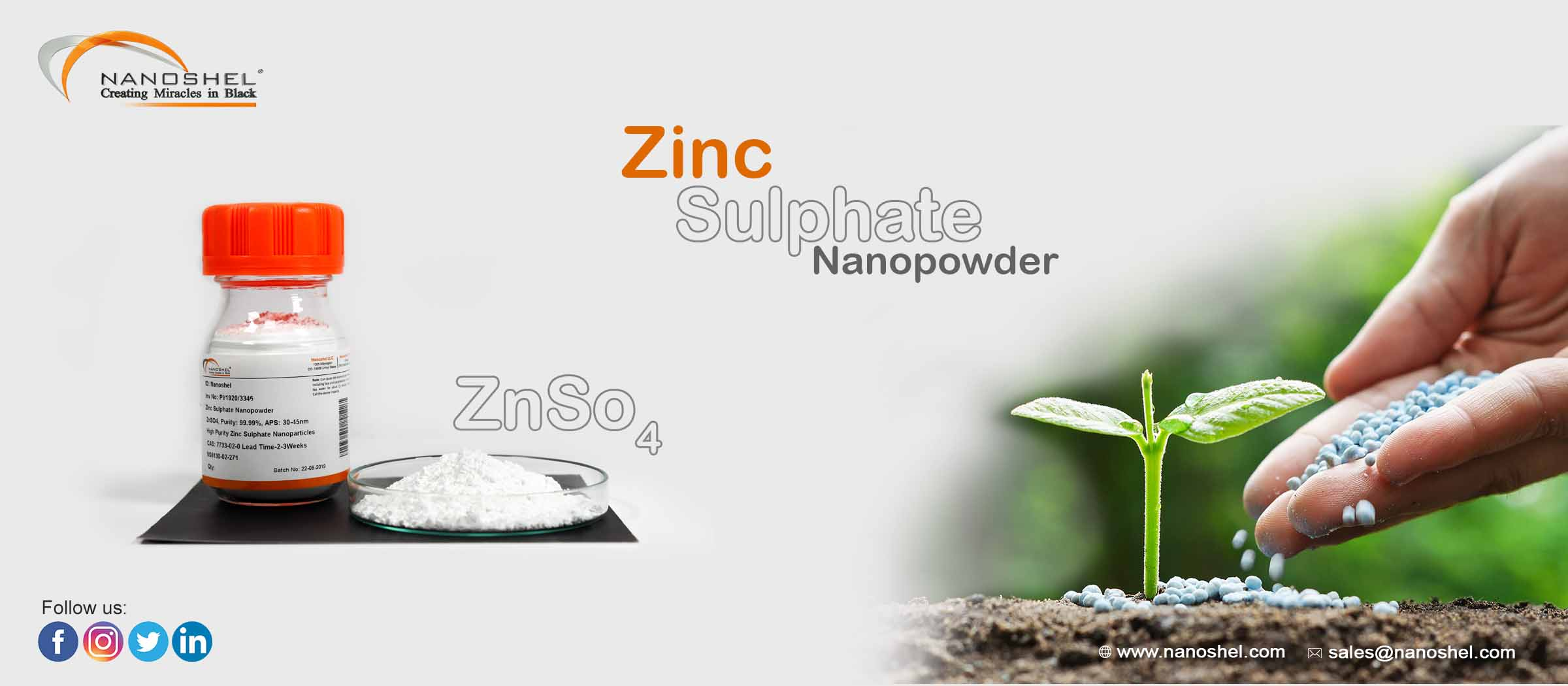 Zinc Sulphate Nanoparticles Less Price Fast Delivery