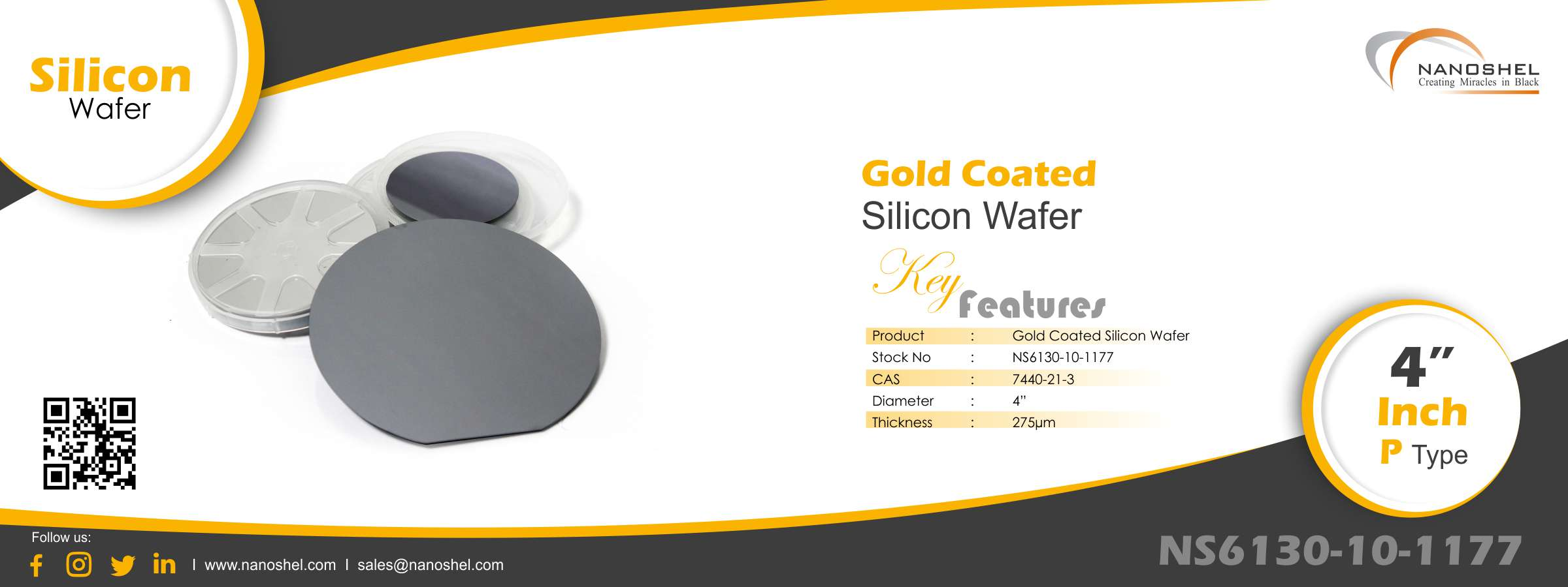 Silicon Wafer Gold Coated 4?